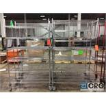 Lot of (4) rolling portable adjustable shelving metro style racking, 48 in. wide x 18 in. deep x