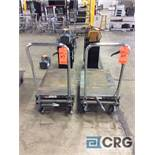 Lot of (2) Haul Master hydraulic lift tables, 1000 lbs capacity 20 in. x 32 in.