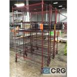 Lot of (3) rolling portable adjustable shelving metro style racking, 48 in. wide x 18 in. deep x