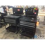 Lot of (4) 4-drawer portables tool chests with open top storage