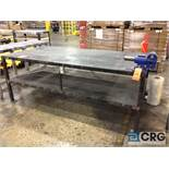 Lot consists of (1) steel welding/working table 8 feet long x 4 feet deep with vise