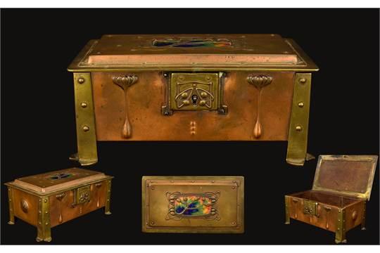 A Jugendstil Enamel Copper And Brass Box A Rare Copper Cigar Trinket