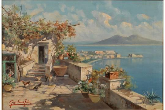 """FELICE GIORDANO """"Terrazza sul golfo di Napoli"""". Bel dipinto ad olio ..."""
