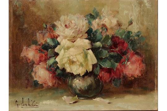 """G. SALVINI - """"Natura morta di fiori"""". Dipinto ad olio su cartone in ..."""