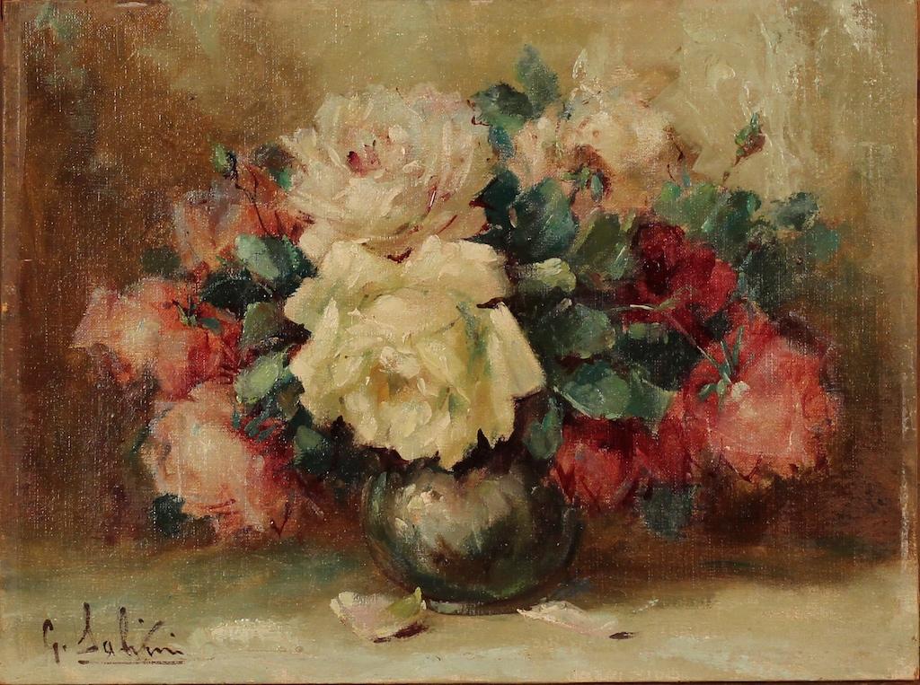G salvini natura morta di fiori dipinto ad olio su for Fiori dipinti a olio