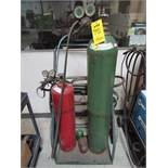 Empty Welding Tanks and Cart With Acetylene Hose, Victor Regulator Gauges
