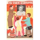 Set 3 Propaganda Posters USSR Children Youth Communism