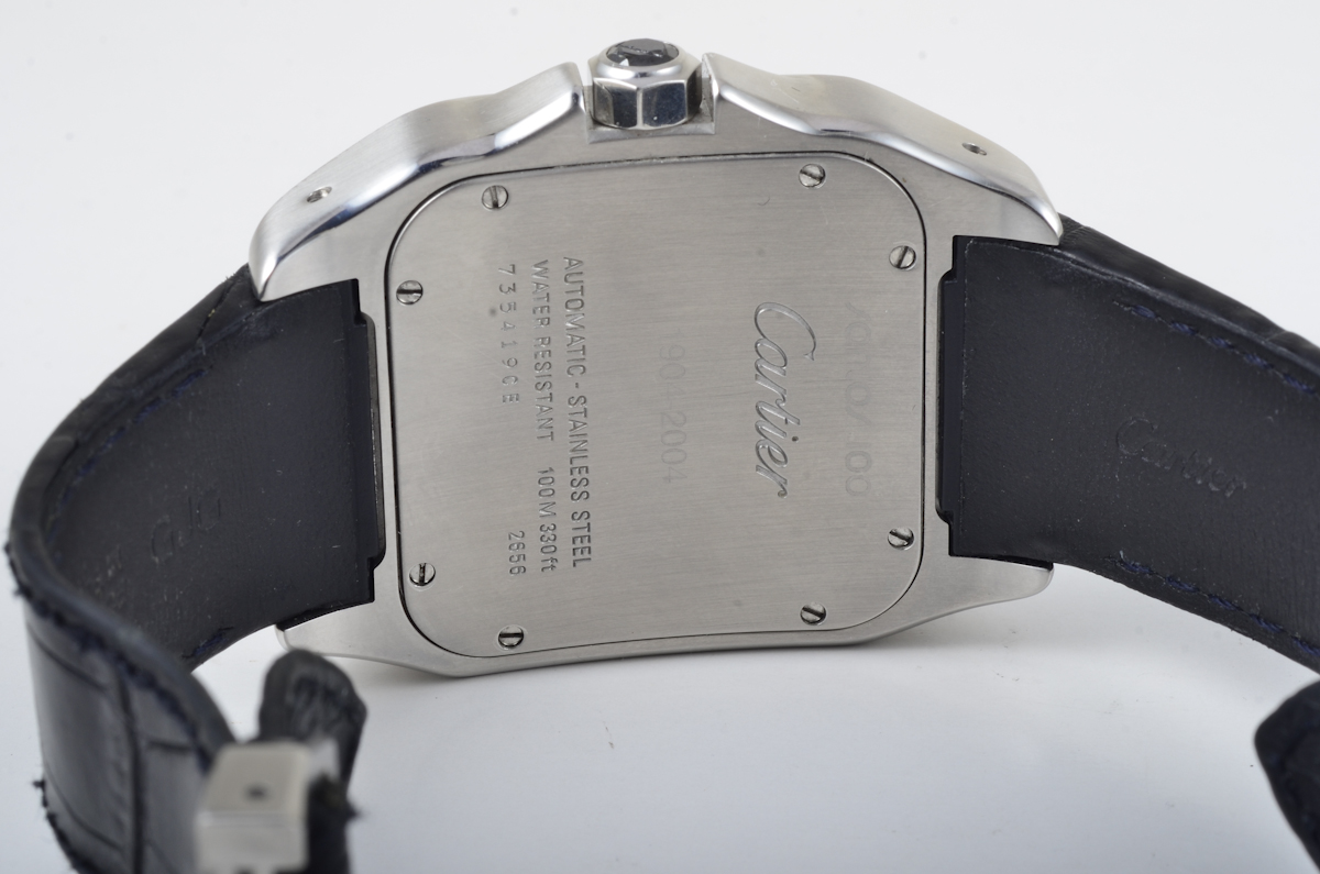 Lot 413 - Very large size Cartier Santos stainless steel man's automatic watch. back of watch stamps Santos