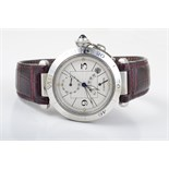 Lot 412 - Cartier stainless steel Pasha Power Reserve man's watch. back stamps Cartier Pasha 100m 330ft