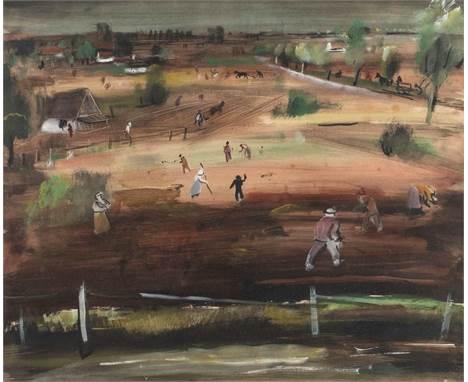 KARL EULENSTEIN  1892 Klaipeda - 1981 Berlin    Feldarbeit     Gouache und Bleistift auf Papier (?). SM 48 x 58 cm (R. 72 x