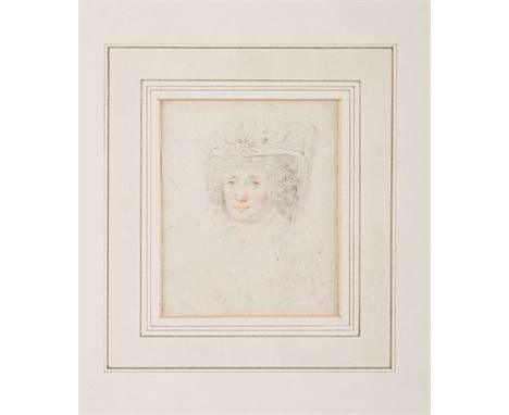 JOHANN FRIEDRICH AUGUST TISCHBEIN (ATTR.)  1750 Maastricht - 1812 Heidelberg    STUDIENKOPF EINER EDLEN DAME MIT HUT     Bl