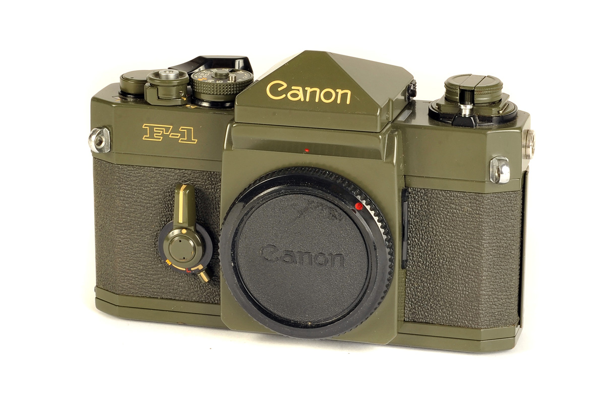 Lot 66 - A Canon F-1 Olive SLR Body, 'ODF-1' Olive drab, serial no. 577061, body, VG, with maker's case and