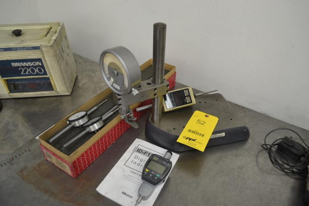 LOT: Indicator Stand with Assorted Digital & Dial Indicators