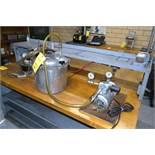 LOT: Vacuum Pump & (2) Pressure Pots with Spray Gun