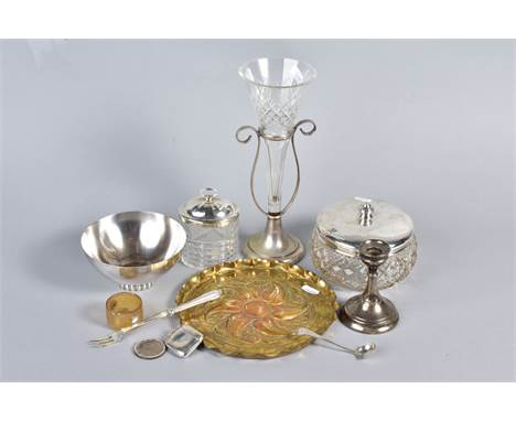 A BOX OF SILVER, PLATE AND OTHER METALWARES, including a late Victorian silver plate and glass single epergne, silver topped