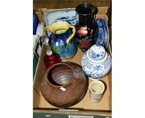 ONE BOX OF CERAMICS AND A CRANBERRY GLASS BELL, to include two Chinese blue and white plates with fluted edges, a Chinese squ