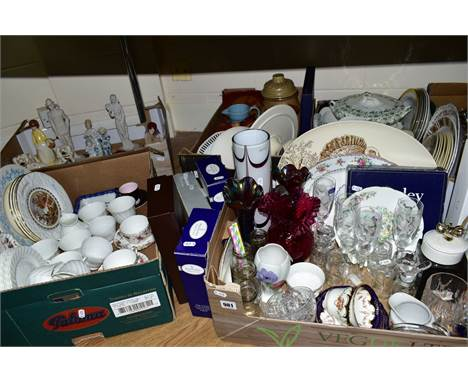 FIVE BOXES AND LOOSE CERAMICS AND GLASSWARE, to include Minton 'Ancestral' tea cups and saucers, Wedgwood white tea ware, Cop