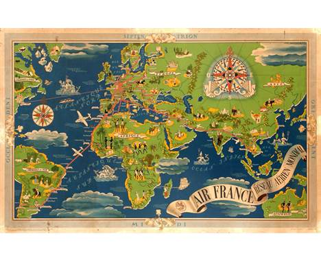 Original vintage planisphere travel advertising poster featuring a detailed illustrated Air France worldwide airline network
