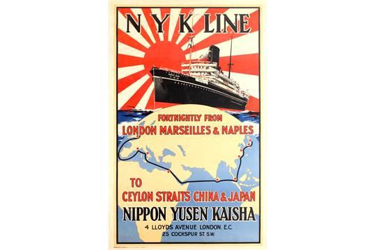 Original vintage travel advertising poster for N Y K Line