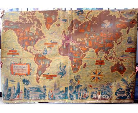 Rare large original vintage planisphere poster map of Air France routes issued only to Air France offices. The poster feature
