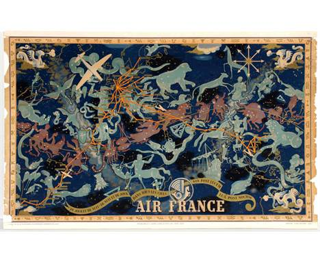 Air France Night Sky Constellation poster.  Lucien Boucher produced a number of pieces for Air France in the early 20th centu