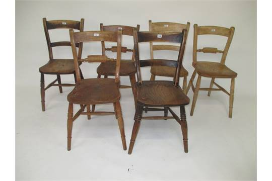 six antique elm windsor oxford kitchen chairs have been well used
