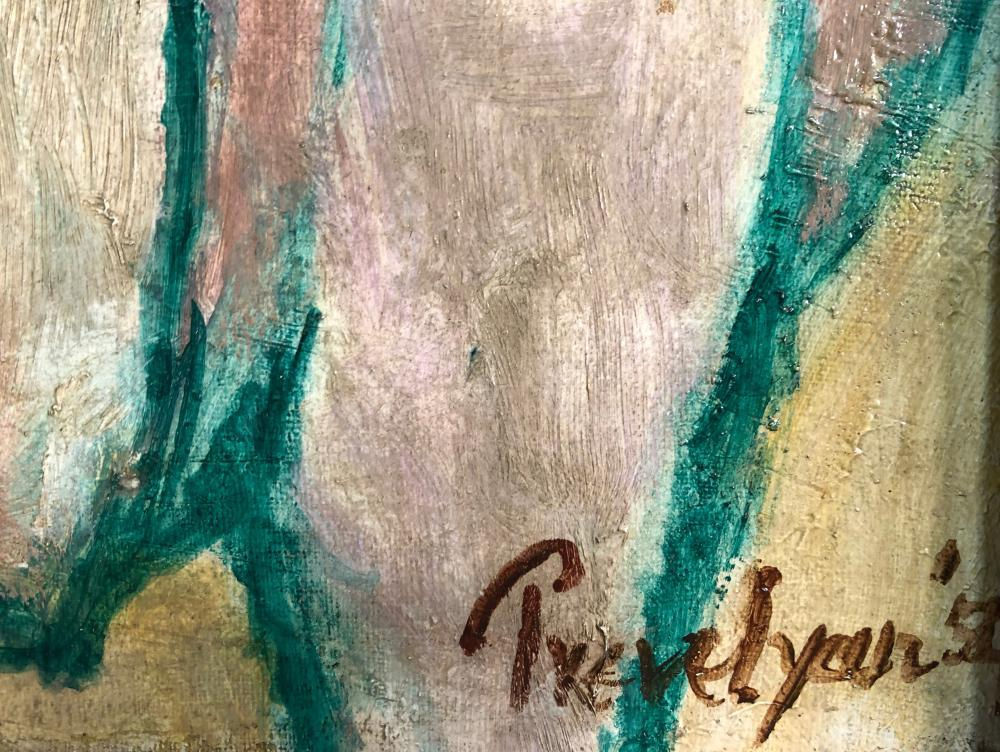 § Julian Trevelyan, RA (British, 1910-1988) Oxen signed and dated 'Trevelyan 54' (lower right) oil - Image 2 of 5