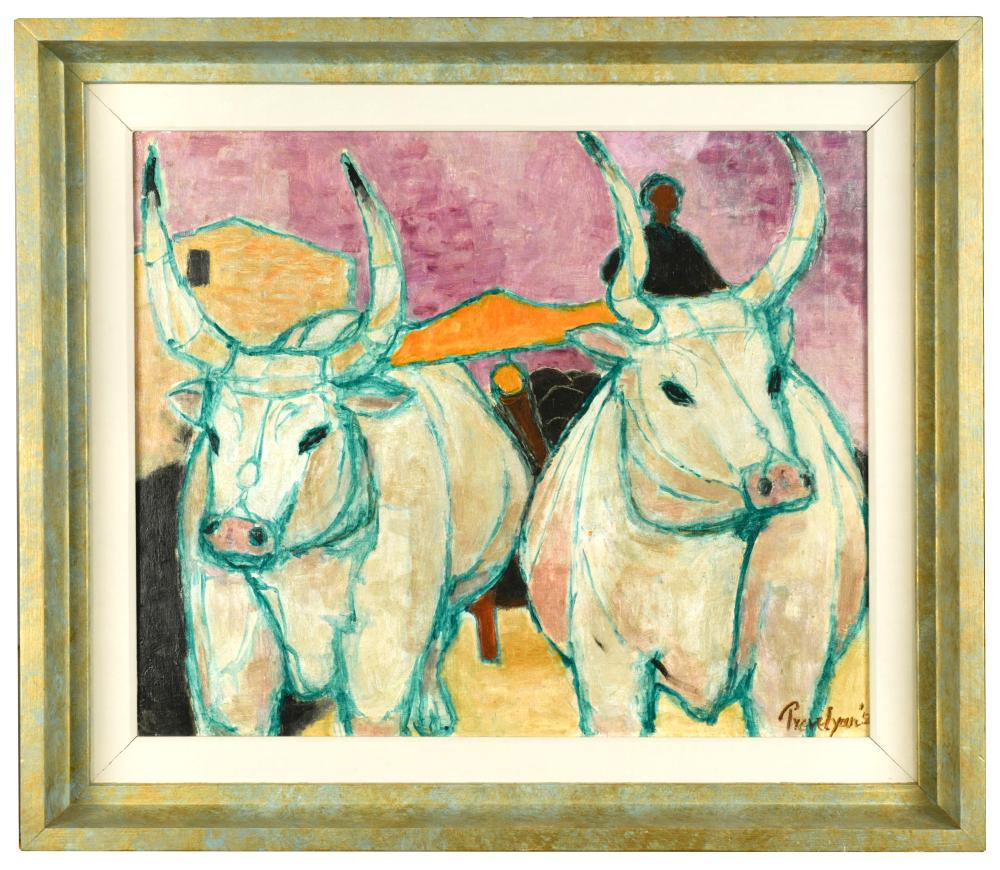 § Julian Trevelyan, RA (British, 1910-1988) Oxen signed and dated 'Trevelyan 54' (lower right) oil