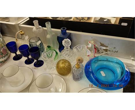 A qty of glass and Murano scent bottles etc.