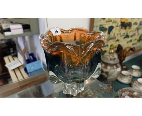 A heavy Murano glass vase