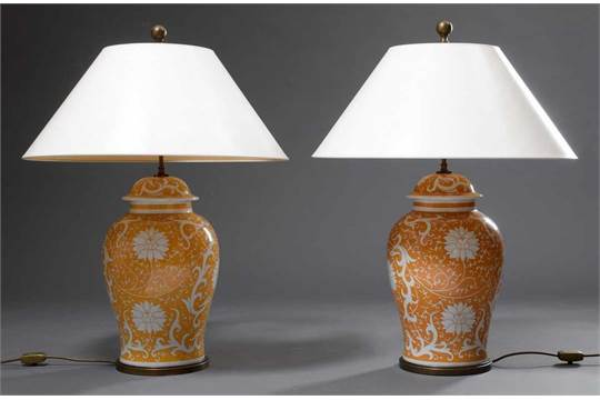 Pair Of Large Porcelain Table Lamps In, Chinese Style Lamps