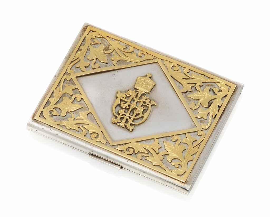 Lot 116 - A SILVER AND GOLD PRESENTATION CIGARETTE CIGARETTE CASE FROM EMPEROR HAILE SELASSIE MID-20TH CENTURY