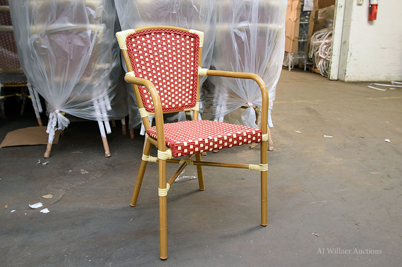 Lot 41 - All Weather Wicker, Aluminum Bamboo Red / Ivory Arm Chair