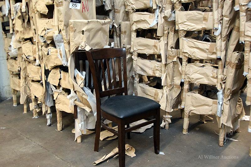 Lot 35 - Dark Mahogany Slat Back, Upholstered Chairs
