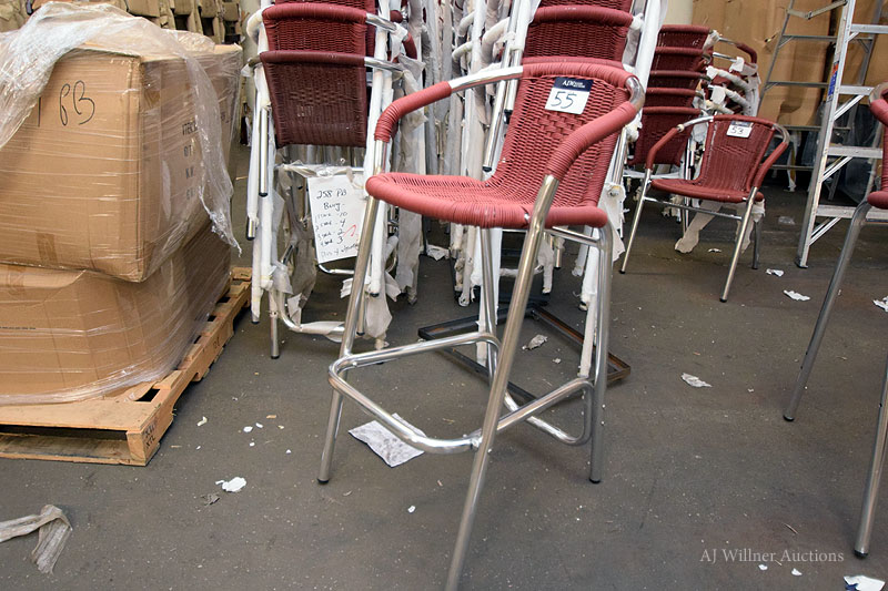 Lot 55 - All Weather, Red Wicker, Aluminum Outdoor, Bar Height Chairs