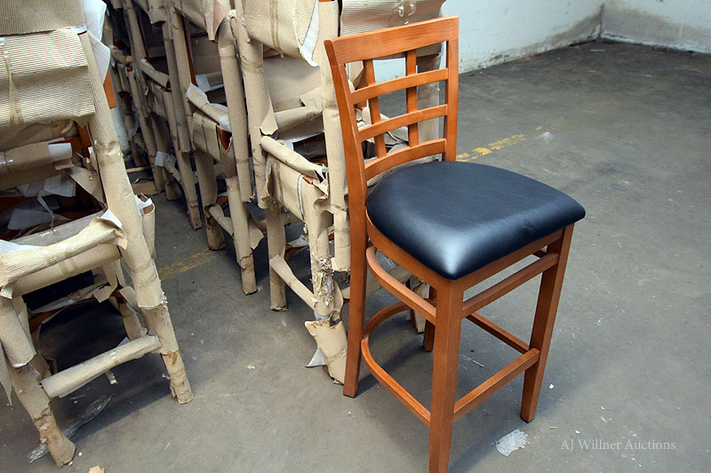 Lot 11 - Lattice Back Beechwood Commercial Bar Stools w/ Black Upholstered Seat