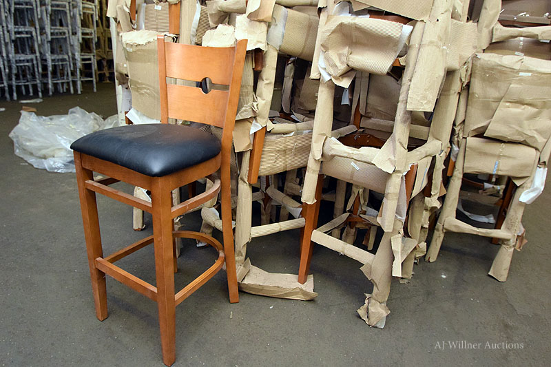 Lot 19 - Cherry Beechwood Upholstered Bar Height Chairs