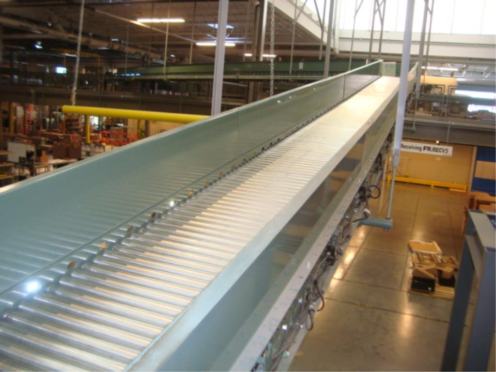 Lot 209 - Suspended Inclining Roller Conveyor