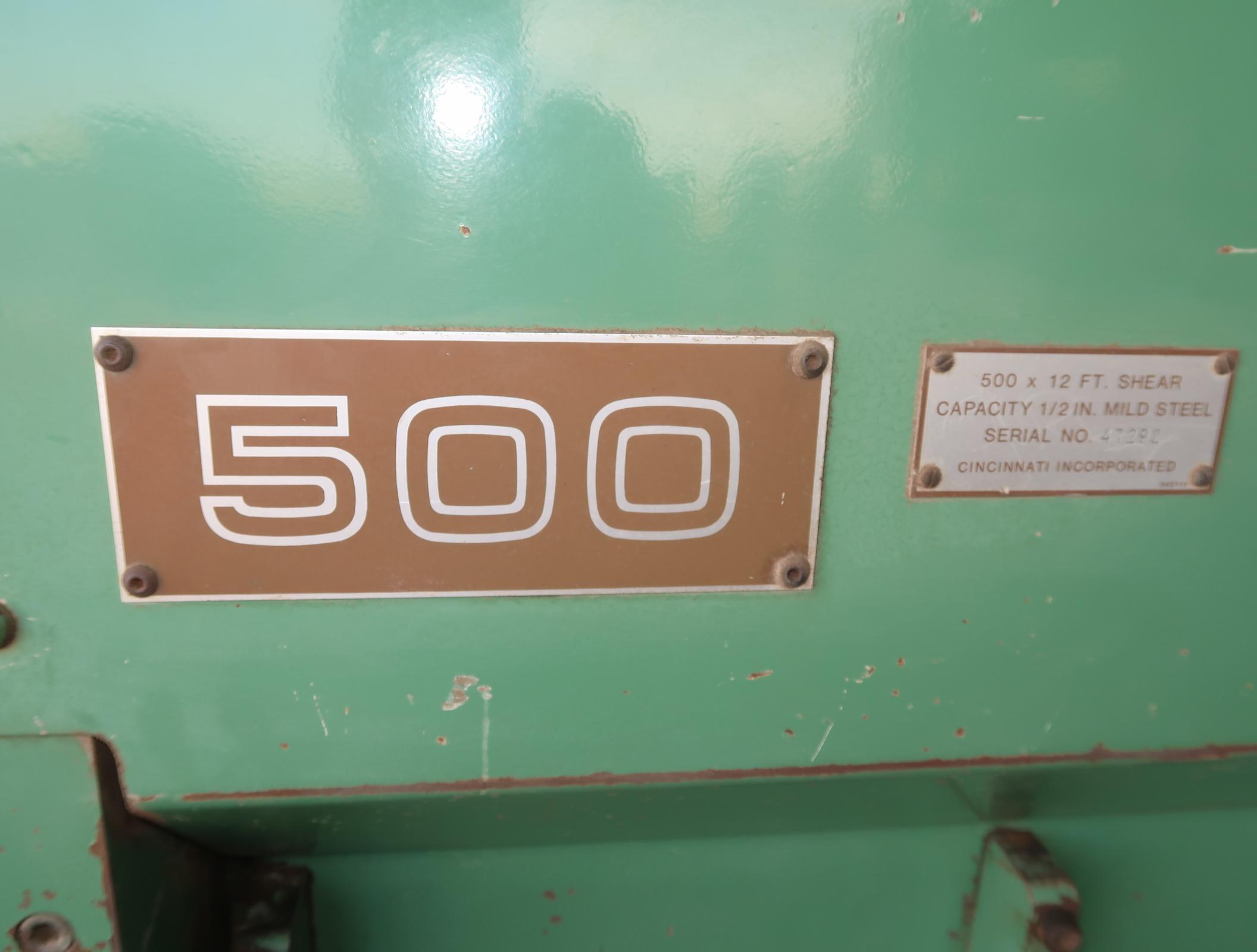 "CINCINNATI 500TON X 12' SHEAR, F.O.P.B.G., 1/2"" MILD STEEL, SN. 47292 (THIS SHEAR IS LOCATED AT - Image 3 of 6"