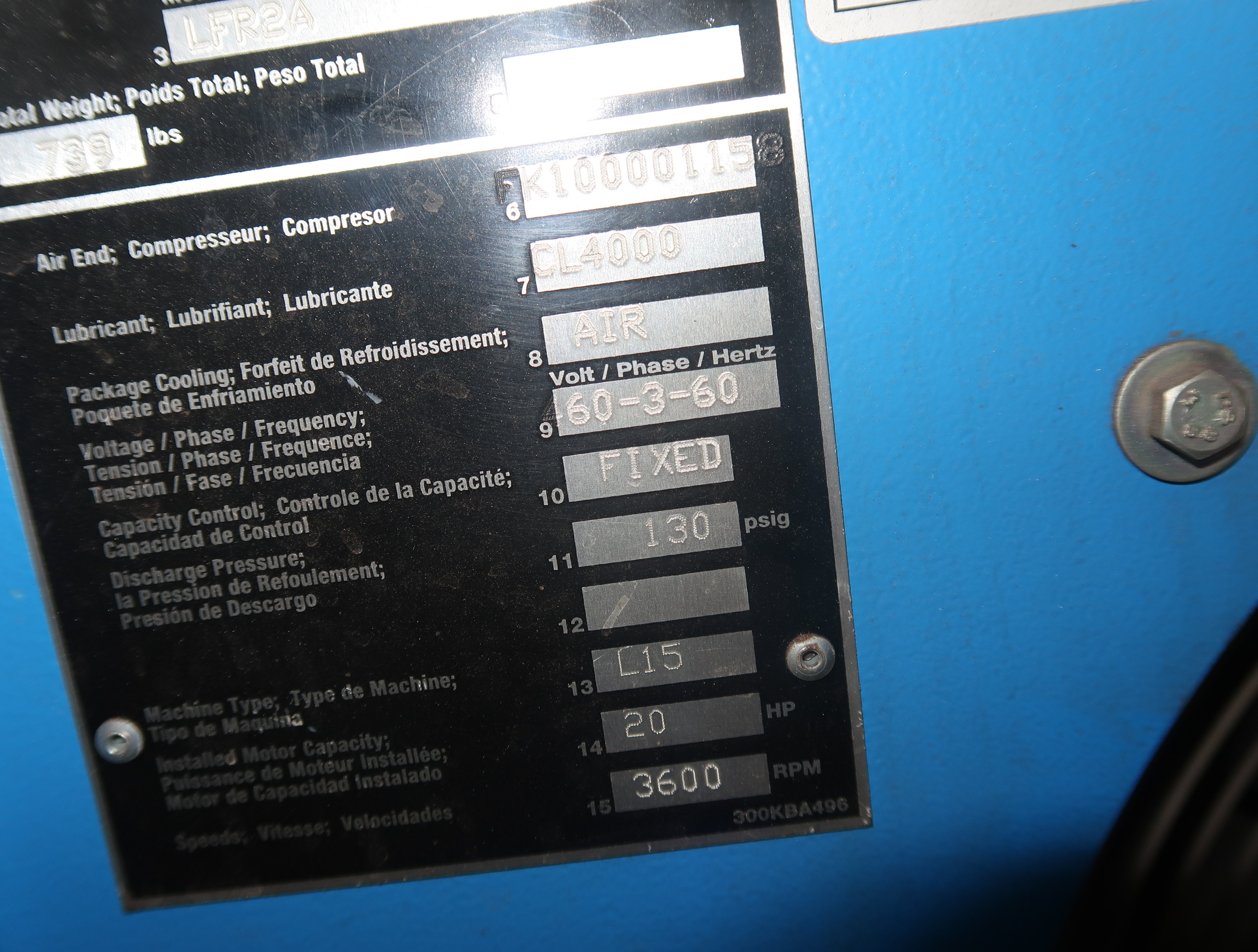2014 COMP AIR 20HP ROTARY SCREW AIRCOMPRESSOR MDL. LFRZA, 3PH W/ VERTIAL AIR RECEIVER, SN. D125008 - Image 4 of 7