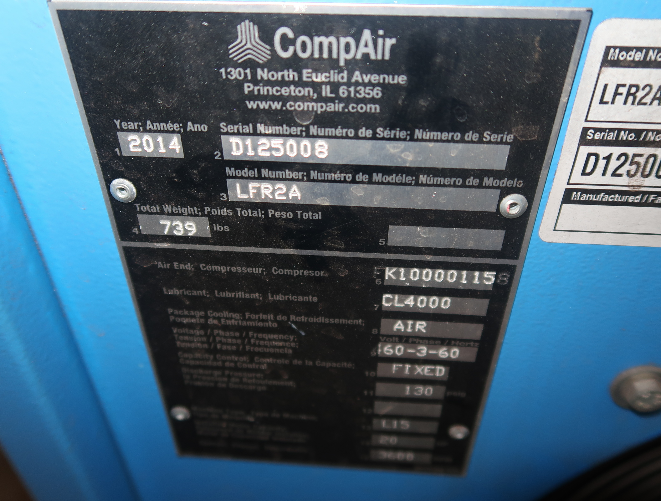 2014 COMP AIR 20HP ROTARY SCREW AIRCOMPRESSOR MDL. LFRZA, 3PH W/ VERTIAL AIR RECEIVER, SN. D125008 - Image 3 of 7