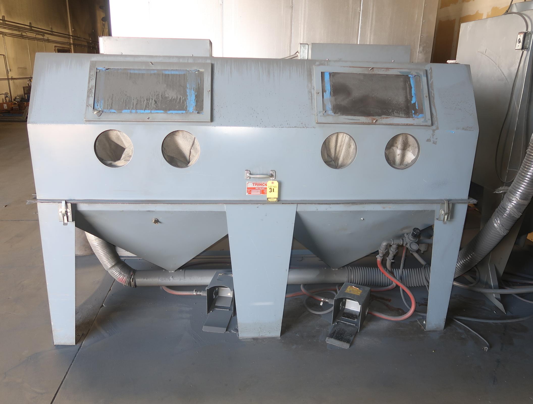 Lot 31 - TRINCO 2 STATION DRY BLAST BOOTH W/ COLLECTOR MDL. 96X48SL/PC-1 SN. 74191-14
