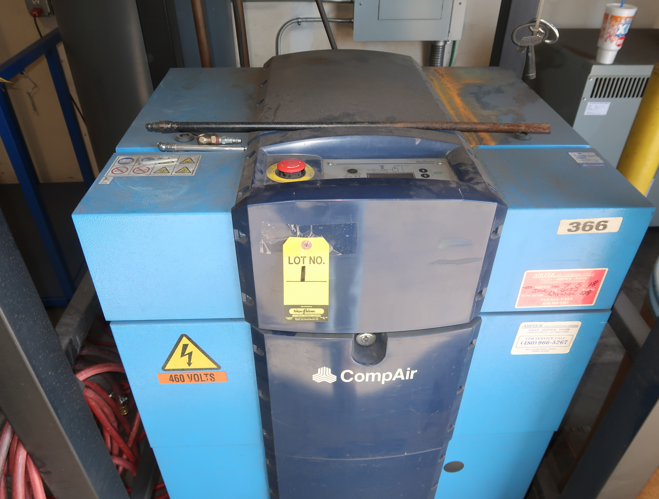 2014 COMP AIR 20HP ROTARY SCREW AIRCOMPRESSOR MDL. LFRZA, 3PH W/ VERTIAL AIR RECEIVER, SN. D125008 - Image 2 of 7