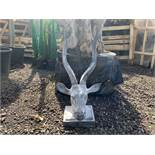 LARGE CAST IRON RUSTY ANTELOPE HEAD IN LEAD FINISH