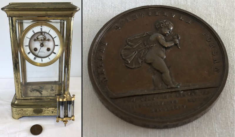 Lot 21 - A 19th cent bronze Royal Humane Society life saving medal together with related presentation clock.