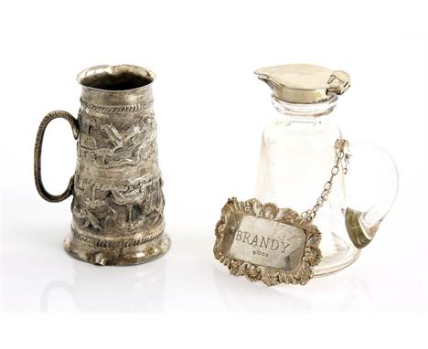 George V silver-mounted whisky noggin, Birmingham 1911, 10 cm high, an Indian spirit measure, 9 cm high, and a silver bottle