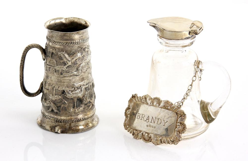George V silver-mounted whisky noggin, Birmingham 1911, 10 cm high, an Indian spirit measure, 9 cm