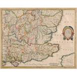South East England. A Henrici Hondy tinted map, Warwicum, Northamtonia, Huntingdonia, Canrabrigia,