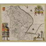 Lincolnshire. A Blaeu coloured map, Lincolnia Comitatus Anglis Lincoln Shire, 42.5 x 55 cm See