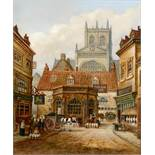 William Wilson (?), a view of Sherborne Abbey and the Conduit from Long Street, oil on canvas,